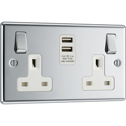 BG BG Polished Chrome USB 13A Switched Socket 2 Gang + 2 USB (3.1A) - 91458 - from Toolstation