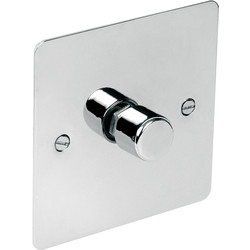 Axiom  Flat Plate Polished Chrome Dimmer Switch 400W 1 Gang 2 Way - 91493 - from Toolstation