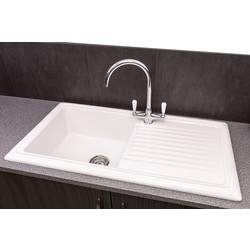Reginox Reginox Reversible Ceramic Kitchen Sink & Drainer Single Bowl White - 91743 - from Toolstation