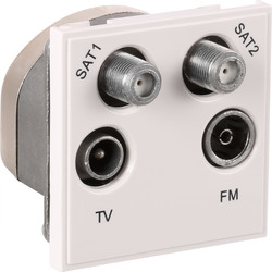Euro Module TV/SAT Outlet Dual SAT/TV/FM White - 91923 - from Toolstation