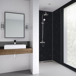 Mermaid Mermaid Graphite Sparkle Laminate Shower Wall Panel Tongue & Groove 2420mm x 885mm - 92282 - from Toolstation