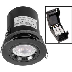 Fire Rated Fixed IP20 GU10 Downlight Black Nickel - 92411 - from Toolstation