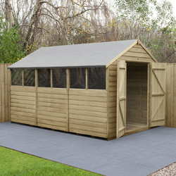 Forest Forest Garden Overlap Pressure Treated Shed - Double Door 12' x 8' - 92446 - from Toolstation