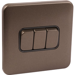 Schneider Schneider Lisse Mocha Bronze Screwless 10AX Switch 3 Gang - 92460 - from Toolstation