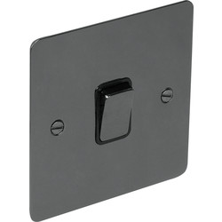 Flat Plate Black Nickel 10A Switch 1 Gang 1 Way - 92484 - from Toolstation