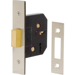 Eclipse Ironmongery 3 Lever Mortice Deadlock 64mm Nickel Plated - 92485 - from Toolstation