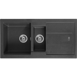 Carron Phoenix Carron Phoenix Bali Granite Composite 1 1/2 Bowl Kitchen Sink & Drainer Jet Black - 92543 - from Toolstation