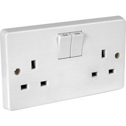 Crabtree Crabtree Switched Socket 2 Gang Single Pole - 92686 - from Toolstation