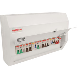 Contactum Contactum Metal 18th Edition Dual RCD + 10 MCBs Consumer Unit 10 Way plus SPD - 92749 - from Toolstation