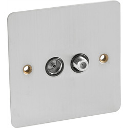 Flat Plate Satin Chrome Satellite Socket Outlet Satellite/TV - 92755 - from Toolstation