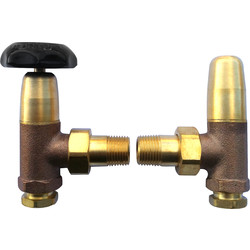 Traditional Radiator Valve & Lockshield Angled - 92769 - from Toolstation