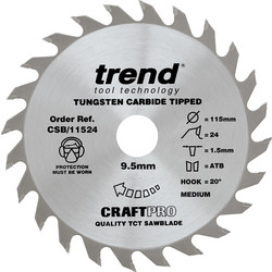 Trend Trend Craft Circular Saw Blade 115 x 24T x 9.5mm CSB/11524 - 92811 - from Toolstation