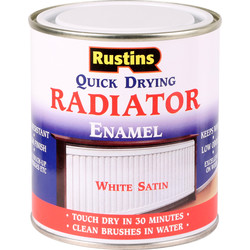 Rustins Quick Dry Radiator Satin Paint White 500ml
