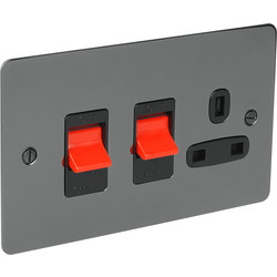 Flat Plate 45A DP Switch & 13A Switched Socket  - 92985 - from Toolstation