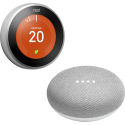 Google Nest Nest Learning Thermostat + Google Home Mini 116x286x176 - 92986 - from Toolstation