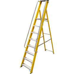 Lyte Heavy Duty Fibreglass Platform Step Ladder With Safety Handrail 8 Tread, Closed Length 2.51m