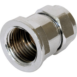"Compression Coupler Female Chrome Plated 15mm x 1/2"" - 93355 - from Toolstation"