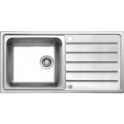 Maine Stainless Steel Single Bowl Kitchen Sink & Drainer 1000 x 500 x 185mm Deep - 93417 - from Toolstation