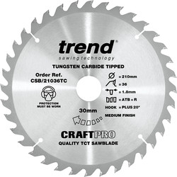 Craft Trend Craft Circular Saw Blade 210 x 36T x 30mm CSB/21036TC - 93485 - from Toolstation