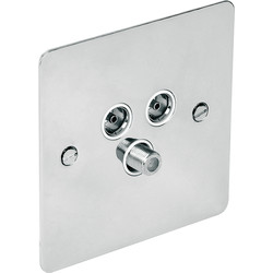 Axiom  Flat Plate Polished Chrome TV / Satellite Socket Satellite/TV/FM - 93596 - from Toolstation