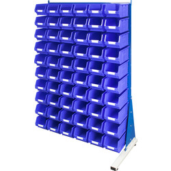 Barton Barton Steel Louvre Panel Adda Stand with Blue Bins 1600 x 1000 x 500mm with 60 TC3 Blue Bins - 93615 - from Toolstation