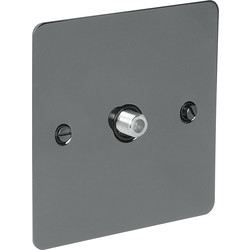 Axiom  Flat Plate Black Nickel TV / Satellite Socket Outlet Satellite Single - 93736 - from Toolstation