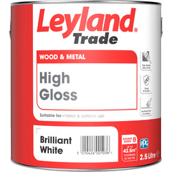 Leyland Trade Leyland Trade High Gloss Paint Brilliant White 2.5L - 93926 - from Toolstation