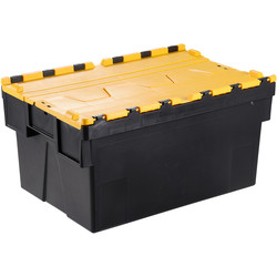 Barton Euro Container 56L with Attached Lid 600 x 400 x 310mm - Yellow Lid - 94087 - from Toolstation