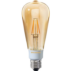 Sylvania Sylvania LED Filament Effect Golden Dimmable ST64 Lamp 5.5W ES 560lm A++ - 94210 - from Toolstation
