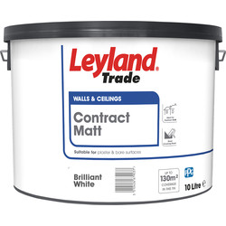 Leyland Trade Contract Matt Emulsion Paint 10L Brilliant White