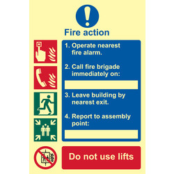 Photoluminescent Fire Action Procedure Sign Text and Images - 94368 - from Toolstation