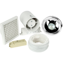 150mm Part L Inline Shower Extractor Fan & Light Kit with Timer
