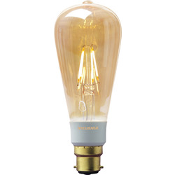 Sylvania Sylvania LED Filament Effect Golden Dimmable ST64 Lamp 5.5W BC 360lm A++ - 94545 - from Toolstation