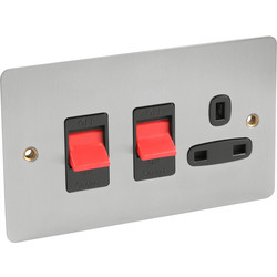 Flat Plate 45A DP Switch & 13A Switched Socket  - 94682 - from Toolstation