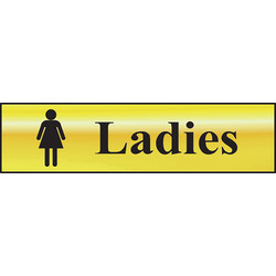 Brass Effect Door Sign Ladies - 94755 - from Toolstation