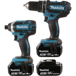 Makita Makita DLX2131JX1 18V Li-Ion Cordless Combi Drill & Impact Driver Twin Pack 3 x 3.0Ah - 94935 - from Toolstation