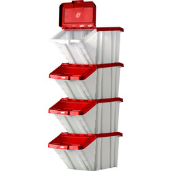 Barton Robust Storage Bin 50L with Lid 345 x 400 x 635mm - Red Lid - 95047 - from Toolstation