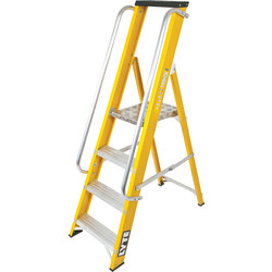 Lyte Ladders Lyte Heavy Duty Fibreglass Platform Step Ladder With Safety Handrail 4 Tread, Closed Length 1.56m - 95065 - from Toolstation