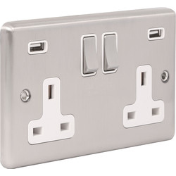 Wessex Wiring Wessex Brushed Stainless Steel USB Switched Socket 4.8A 2 Gang White Insert - 95297 - from Toolstation