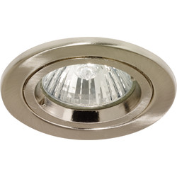 Halolite Cast Ring 240V/12V Fixed Downlight Satin Nickel - 95558 - from Toolstation