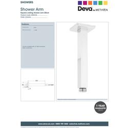 Deva Square Ceiling Shower Arm