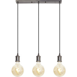 4lite WiZ 4lite WiZ Connected Decorative 3 Way Bar Pendant Blackened Silver with 3 x 6.5W WiFi Smart LED Globe Bulbs Warm to Cool White 725lm - 95724 - from Toolstation