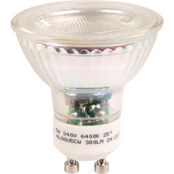 Meridian Lighting LED Glass GU10 5W COB Lamp Warm White 360lm - 95728 - from Toolstation