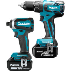 Makita Makita DLX2173TJ 18V LXT Brushless Cordless Combi Drill & Impact Driver Twin Pack 2 x 5.0Ah - 95773 - from Toolstation