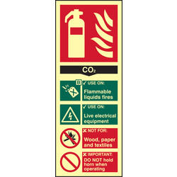 Photoluminescent Fire Extinguisher Sign CO2 - 95837 - from Toolstation
