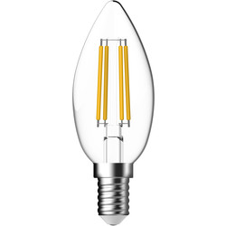 Energetic Lighting Energetic LED Filament Clear Candle Lamp 2.1W SES 250lm - 95887 - from Toolstation