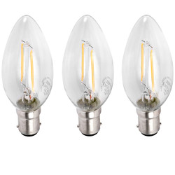 Meridian Lighting LED Filament Candle Lamp 2W SBC (B15d) 230lm - 95900 - from Toolstation