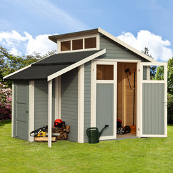 Rowlinson Rowlinson Skylight Shed With Store Painted Light Grey 7' x 10' - 96339 - from Toolstation