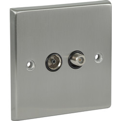 Satin Chrome / Black TV / Satellite Socket Outlet Satellite / TV - 96379 - from Toolstation