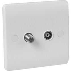 Scolmore Click Click Mode TV/Satellite Socket 1 Gang TV/Satellite - 96467 - from Toolstation